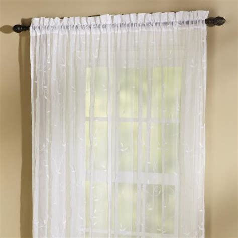 White Embroidered Scroll Curtain Panel  Christmas Tree