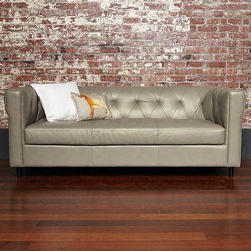 west elm leather chester tufted leather sofa west elm