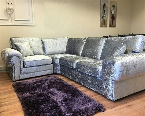 big corner sofa suite tango crushed velvet fabric silver