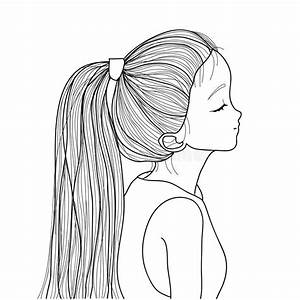 Hand-drawn Cute Girl With Ponytail Stock Vector ...