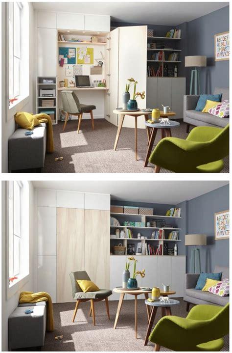 espace bureau dans salon cacher bureau dans un placard archi petits espaces