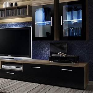 Meuble Design Tv Mural : meuble tv mural design lyra 300cm noyer noir ~ Teatrodelosmanantiales.com Idées de Décoration