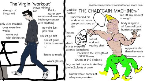 Chad Meme - chad vs virgin workout memes
