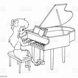 Piano Cartoon Playing Coloring Lesson Pianist Illustrations Young Bleached Vectors sketch template