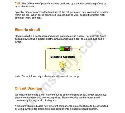 Electric Circuit Diagram For Class 10