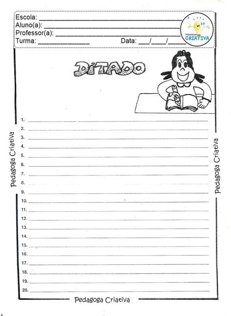 pedagoga criativa atividade para imprimir ditado de palavras