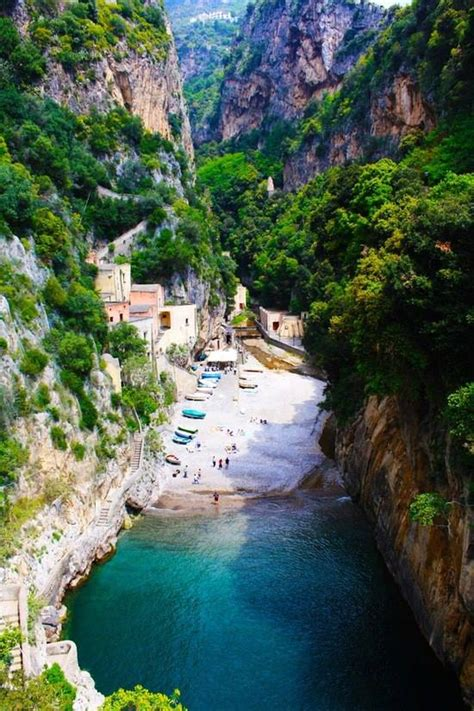 Places For Traveling Secluded Beach Furore Amalfi Italy