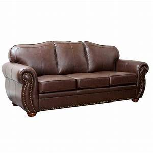 Abbyson Living Pearla 3 Piece Leather Sofa Set In Dark