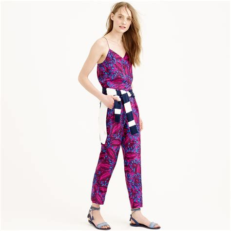1378 Floral Silky Jumpsuit lyst j crew midnight floral silk jumpsuit in purple