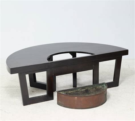 Semi Circle Patio Table by Harvey Probber Semi Circle Coffee Table With Inserted