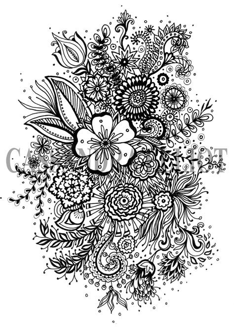 Printable Adult Colouring Page Digital Download Print Flower