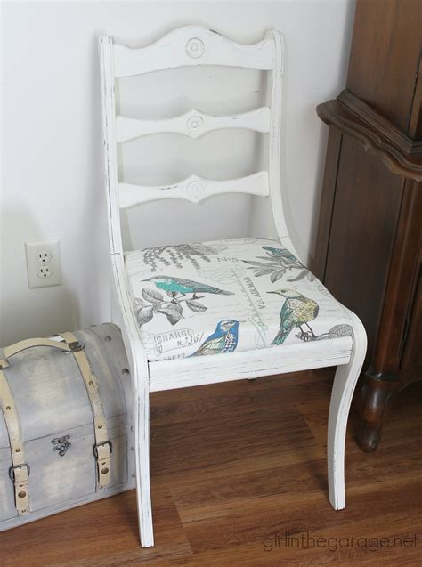 vintage white chair makeover in the garage 174