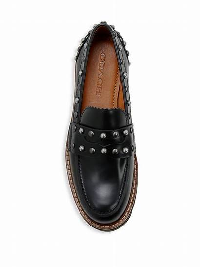Loafers Coach Platform Lenox Leather Studded Shearling