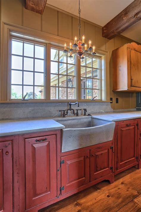 classic colonial homes interior farmhouse sink red kitchen cabinets primitive kitchen