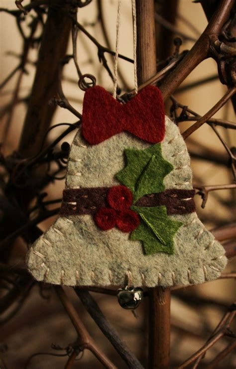 holly bell felt ornament wool felt holiday decoration