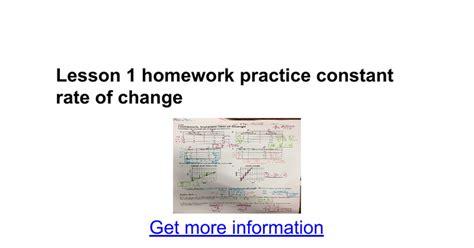 Lesson 1 Homework Practice Constant Rate Of Change  Google Docs