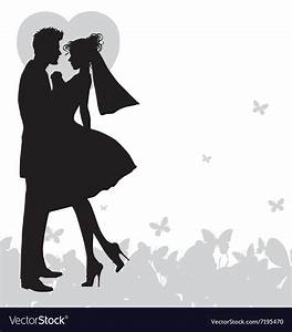 Wedding couple holding hands silhouette Royalty Free Vector