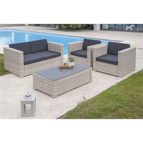 Salon bas de jardin Oceane-salon ru00e9sine tressu00e9e blanc table+canapu00e9+2 fauteuils | Leroy Merlin