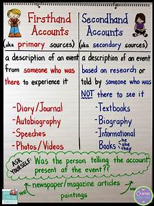 Firsthand And Secondhand Accounts    With A Mentor Text