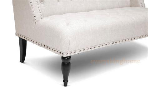 Modern Beige Dark Gray Grey Linen Victorian Banquette