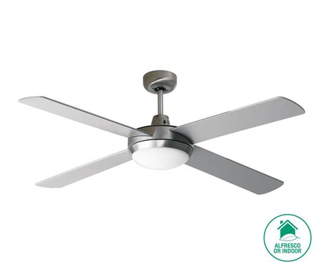 silver blade ceiling fan futura 132cm fan and light in brushed aluminium with