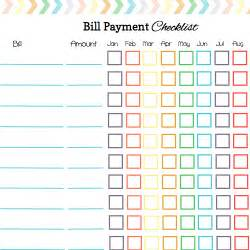Monthly Bill Payment Checklist