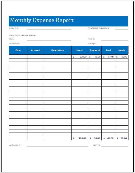 expense summary monthly expense report worksheet template microsoft word Monthly