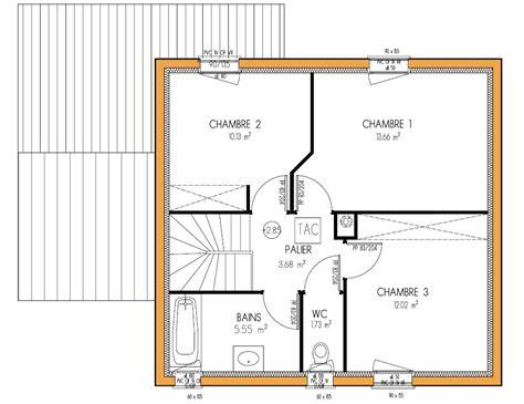 plan maison etage 4 chambres plan maison etage 50m2