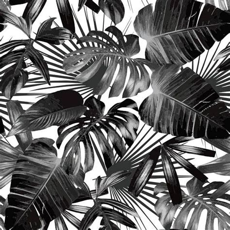 black white tropical palm tree pattern peel  stick