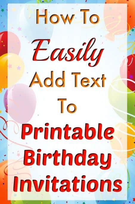 easily add text  birthday invitation templates