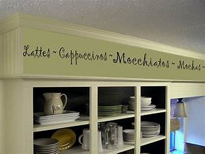 coffee kitchen words border vinyl wall decor cafe vinyl wall With kitchen colors with white cabinets with wall art vinyl decals