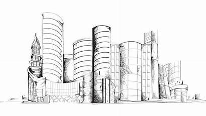 Sketch Animation Outline Urban Hong Kong 4k