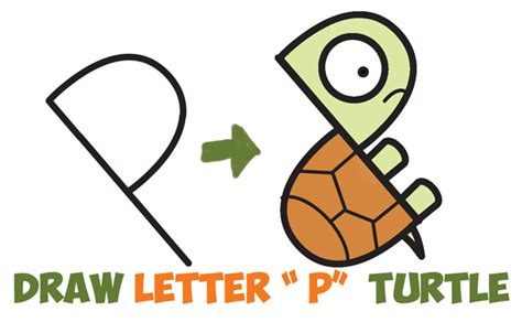 draw  cute cartoon turtle  letter p shapes