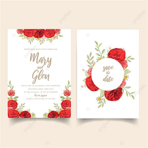 Wedding Invitation With Floral Red Roses Template for Free