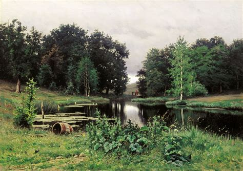 pond landscape landscape with a pond 1887 efim volkov wikiart org