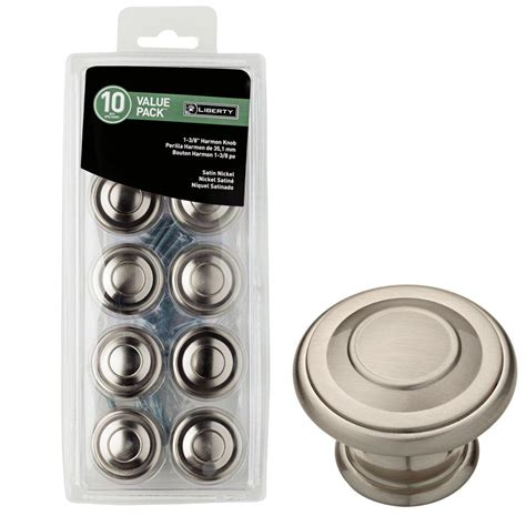 home depot kitchen cabinet knobs liberty 1 3 8 in satin nickel harmon cabinet knob 10