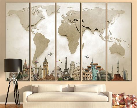 Large World Map Canvas Print Wall Art  13 Or 5 Panel By