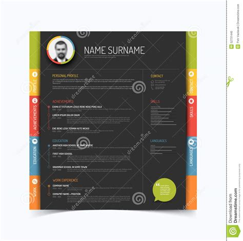 Resume Picture Background Color by Cv Resume Template Stock Vector Image 52731440