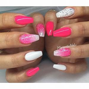 Neon pink and white coffin nails glitter ombré spring