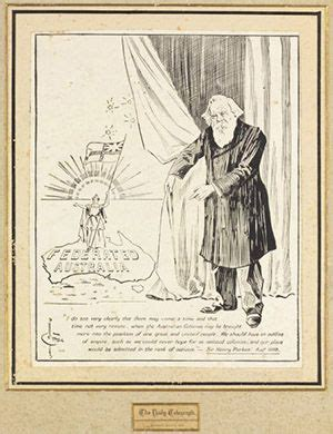cartoon showing henry parkes unveiling  map