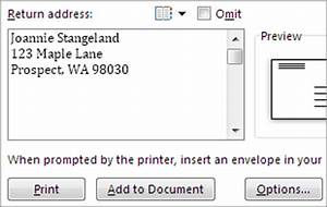 print an envelope word With how to print return address on envelope