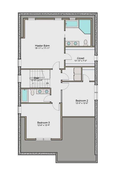 plano planta alta casa de dos pisos cuatro dormitorios casas pinterest