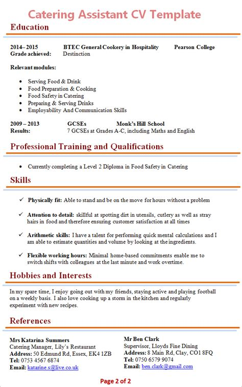 resums format  catering normal cover letter samples