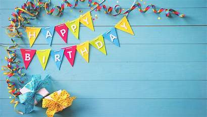 Birthday Happy Colorful Ribbons Gifts Flags Uhd