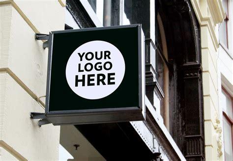 wall mounted backlit shop sign board psd mockups good mockups