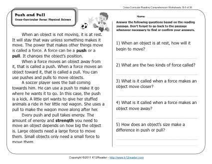 push and pull k12 2nd grade reading comprehension reading comprehension worksheets