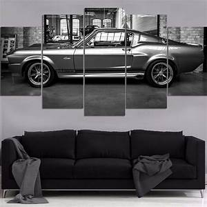HD printed painting 5P Wall decor FORD MUSTANG GT500 ELEANOR CANVAS SET canvas painting-in ...