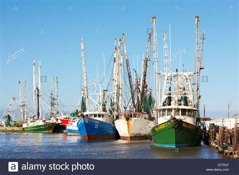 Boat Transport Galveston by Commercial Shrimp Boats At Dock Bolivar