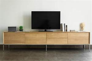 Meuble Tv Chene Massif Moderne : meuble tv en ch ne massif 2 tiroirs 2 portes rabattables kubico ~ Teatrodelosmanantiales.com Idées de Décoration