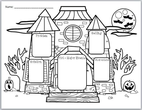 halloween themed graphic organizer  story elements